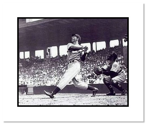 Joe DiMaggio New York Yankees MLB Double Matted 8x10 Photograph Swinging