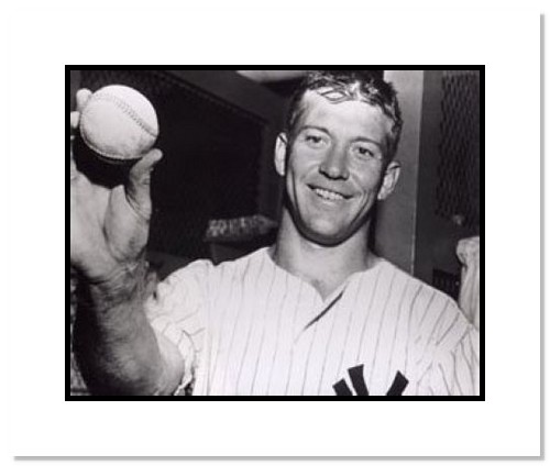 Mickey Mantle New York Yankees MLB Double Matted 8x10 Photograph Holding Baseball