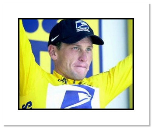 Lance Armstrong USA Cycling Double Matted 8x10 Photograph Tour de France Celebration Close Up