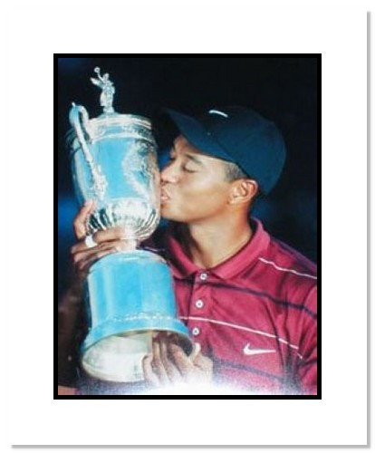 Tiger Woods PGA Golf Double Matted 8x10 Photograph Kissing Trophy