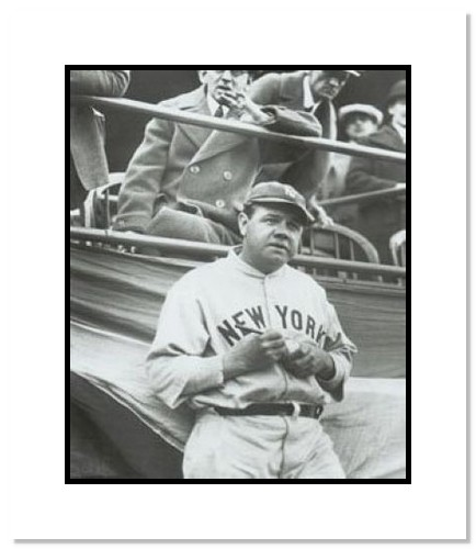 Babe Ruth New York Yankees MLB Double Matted 8x10 Photograph Signing Baseball