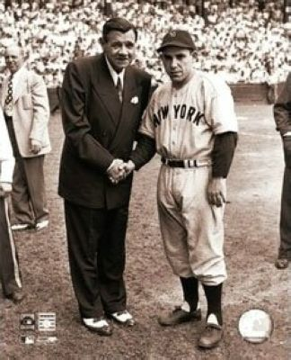 Babe Ruth New York Yankees MLB 8x10 Photograph Shaking Hands with Yogi Berra