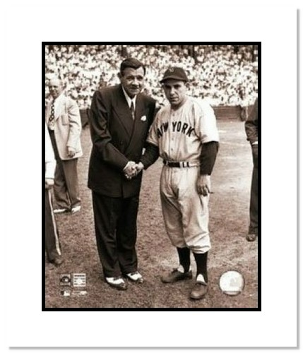 Babe Ruth New York Yankees MLB Double Matted 8x10 Photograph Shaking Hands with Yogi Berra