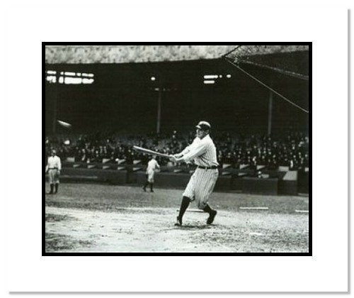 Babe Ruth New York Yankees MLB Double Matted 8x10 Photograph Swinging