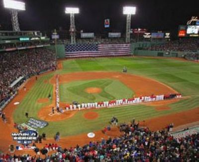2004 Boston Red Sox MLB 8x10 Photograph World Series Game 1 Flag
