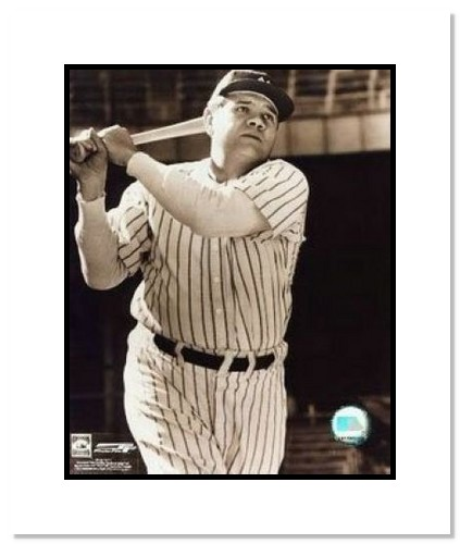 Babe Ruth New York Yankees MLB Double Matted 8x10 Photograph Swinging Close Up