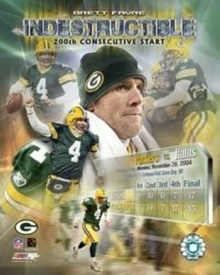 Brett Favre Green Bay Packers NFL 8x10 Photograph  Indestructible Game Streak