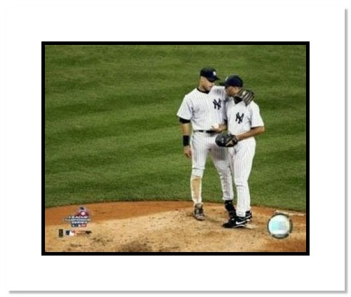 Derek Jeter New York Yankees MLB Double Matted 8x10 Photograph on the Mound with Mariano Rivera