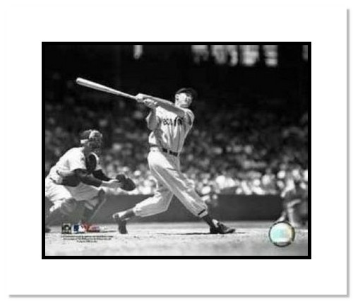 Ted Williams Boston Red Sox MLB Double Matted 8x10 Photograph Swinging