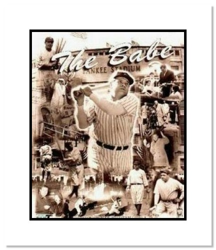 Babe Ruth New York Yankees MLB Double Matted 8x10 Photograph Legends Collage