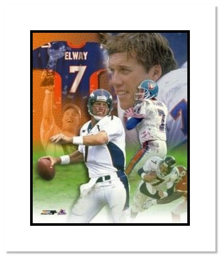 John Elway Denver Broncos NFL Double Matted 8x10 Photograph Legends Collage