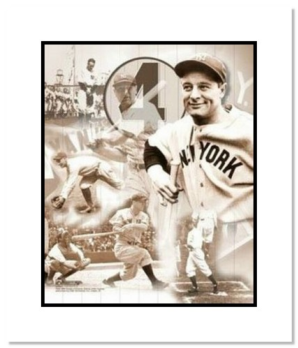 Lou Gehrig New York Yankees MLB Double Matted 8x10 Photograph Legends Collage