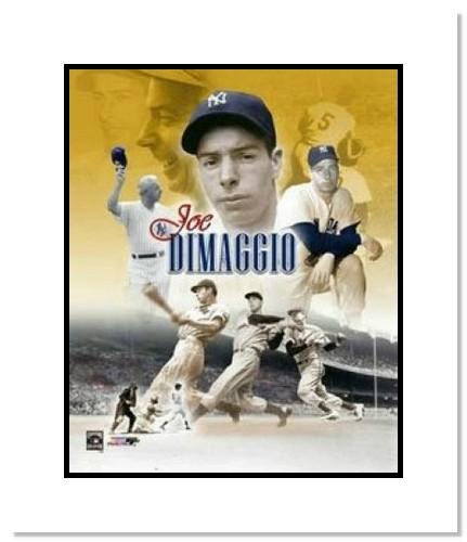Joe DiMaggio New York Yankees MLB Double Matted 8x10 Photograph Collage