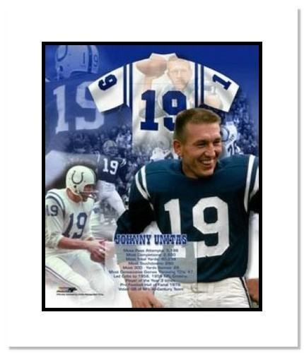 Johnny Unitas Indianapolis Colts NFL Double Matted 8x10 Photograph Legends Collage