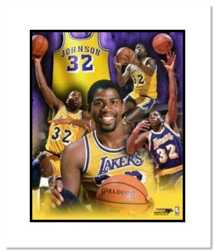 Magic Johnson Los Angeles Lakers NBA Double Matted 8x10 Photograph Collage