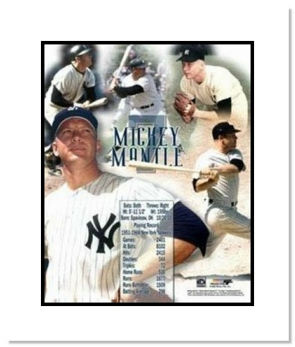 Mickey Mantle New York Yankees MLB Double Matted 8x10 Photograph Collage