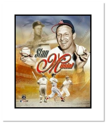 Stan Musial St Louis Cardinals MLB Double Matted 8x10 Photograph Legends Collage