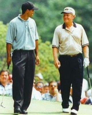 Tiger Woods and Jack Nicklaus PGA Golf 8x10 Photograph Walking the Fairway