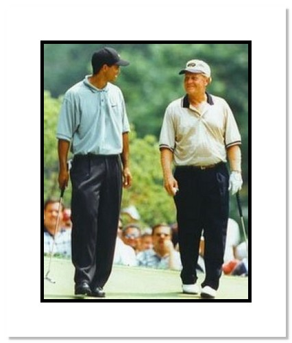 Tiger Woods and Jack Nicklaus PGA Golf Double Matted 8x10 Photograph Walking the Fairway