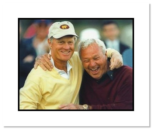 Arnold Palmer and Jack Nicklaus PGA Golf Double Matted 8x10 Photograph Hugging and Smiling