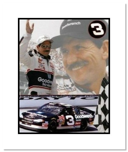 Dale Earnhardt Sr NASCAR Auto Racing Double Matted 8x10 Photograph Tribute Collage