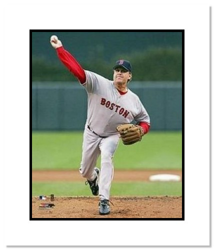 Curt Schilling Boston Red Sox MLB Double Matted 8x10 Photograph Pitching