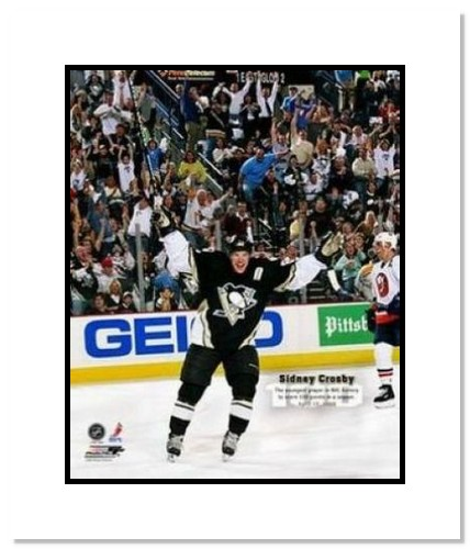 Sidney Crosby Pittsburgh Penguins NHL Double Matted 8x10 Photograph 100th Point Action