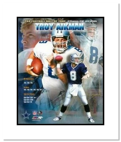 Troy Aikman Dallas Cowboys NFL Double Matted 8x10 Photograph 2006 Hall Of Fame Collage
