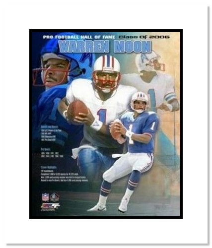Warren Moon Houston Oilers NFL Double Matted 8x10 Photograph 2006 Hall Of Fame Collage