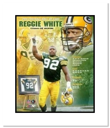 Reggie White Green Bay Packers NFL Double Matted 8x10 Photograph 2006 Hall Of Fame Collage