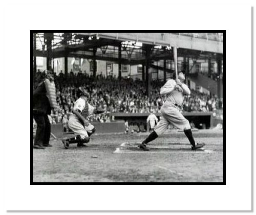 Babe Ruth New York Yankees MLB Double Matted 8x10 Photograph Swinging HR