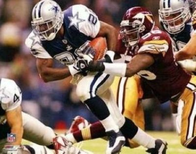Emmitt Smith Dallas Cowboys NFL 8x10 Photograph Rushing Against the Redskins