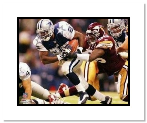 Emmitt Smith Dallas Cowboys NFL Double Matted 8x10 Photograph Rushing Against the Redskins