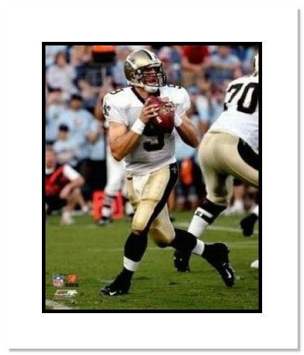 Drew Brees New Orleans Saints NFL Double Matted 8x10 Photograph Dropping Back