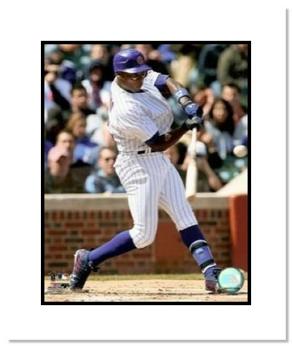 Alfonso Soriano Chicago Cubs MLB Double Matted 8x10 Photograph Batting
