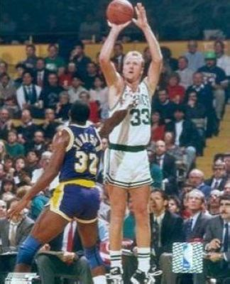 Larry Bird Boston Celtics NBA 8x10 Photograph Shooting Over Magic Johnson
