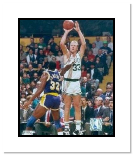 Larry Bird Boston Celtics NBA Double Matted 8x10 Photograph Shooting Over Magic Johnson