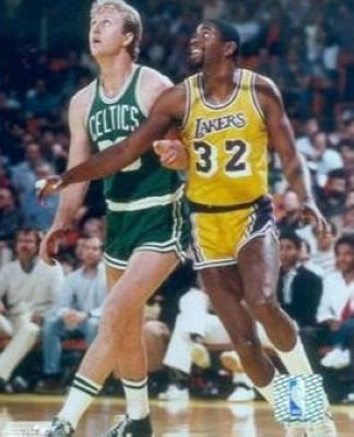 Larry Bird and Magic Johnson Boston Celtics Los Angeles Lakers NBA 8x10 Photograph Posting Up