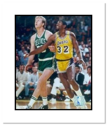Larry Bird and Magic Johnson Boston Celtics Los Angeles Lakers NBA Double Matted 8x10 Photograph Posting Up