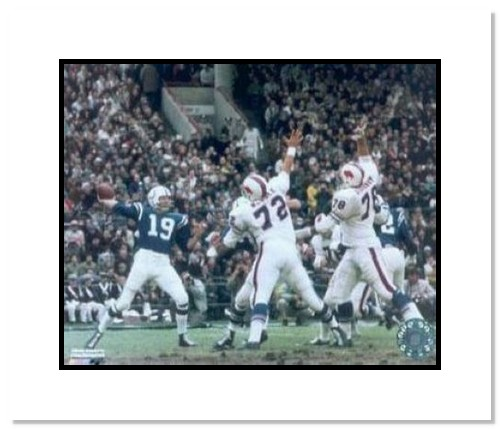 Johnny Unitas Indianapolis Colts NFL Double Matted 8x10 Photograph Passing