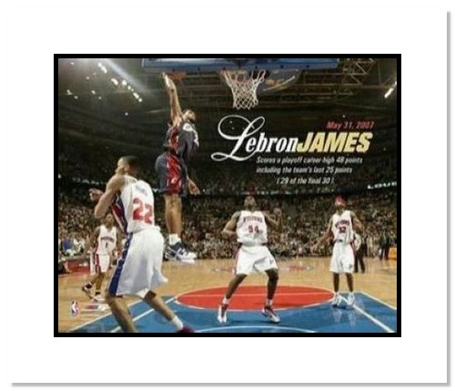 LeBron James Cleveland Cavaliers NBA Double Matted 8x10 Photograph 48 Point Game
