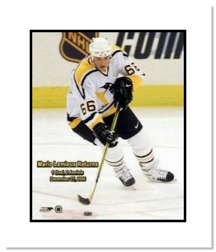 Mario Lemiuex Pittsburgh Penguins NHL Double Matted 8x10 Photograph Mario Returns