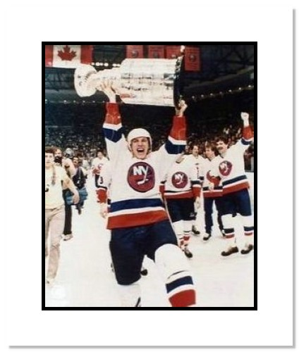Mike Bossy New York Islanders NHL Double Matted 8x10 Photograph Stanley Cup Overhead