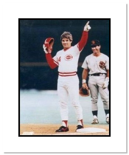 Pete Rose Cincinnati Reds MLB Double Matted 8x10 Photograph Hit #4192 Pointing