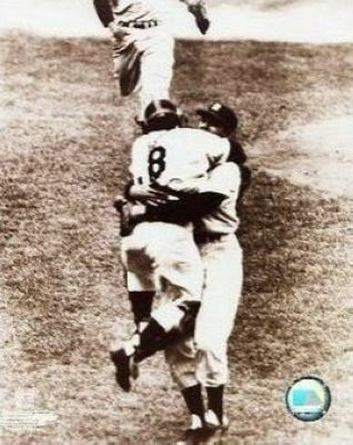 Don Larsen and Yogi Berra New York Yankees MLB 8x10 Photograph 1956 World Series Perfect Game Hug