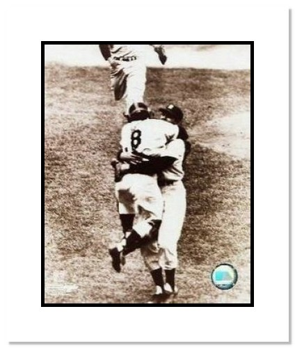 Don Larsen and Yogi Berra New York Yankees MLB Double Matted 8x10 Photograph 1956 World Series Perfect Game Hug