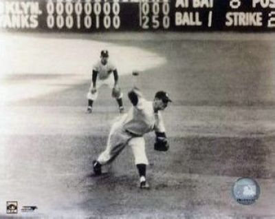 Don Larsen and Yogi Berra New York Yankees MLB 8x10 Photograph 1956 World Series Perfect Game Last Pitch