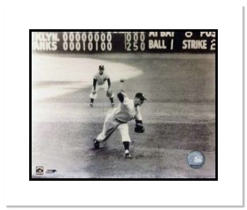 Don Larsen and Yogi Berra New York Yankees MLB Double Matted 8x10 Photograph 1956 World Series Perfect Game Last Pitch