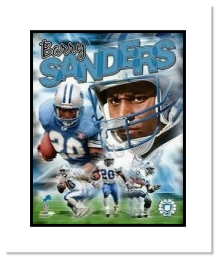 Barry Sanders Detroit Lions NFL Double Matted 8x10 Photograph Legends Composite