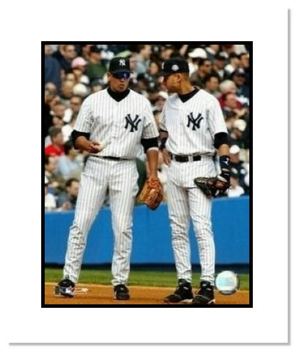 Alex Rodriguez and Derek Jeter New York Yankees MLB Double Matted 8x10 Photograph Talking